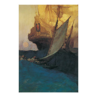 Vintage Pirates, Attack on a Galleon, Howard Pyle Print
