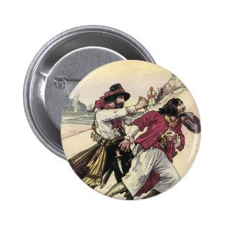 Vintage Pirates, Battle Duel till Death on Beach 2 Inch Round Button
