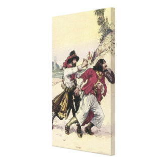 Vintage Pirates, Battle Duel till Death on Beach Canvas Print