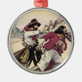 Vintage Pirates, Battle Duel till Death on Beach Round Metal Christmas Ornament