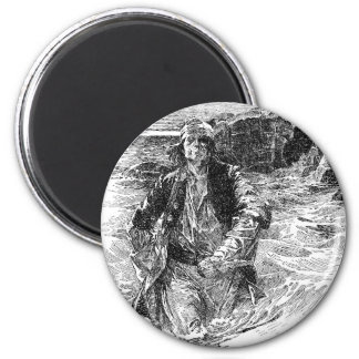 Vintage Pirates, Black and White Sketch, Tailpiece 2 Inch Round Magnet