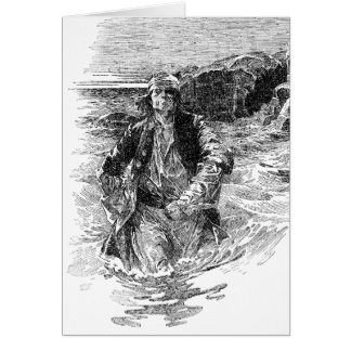 Vintage Pirates, Black and White Sketch, Tailpiece Greeting Card