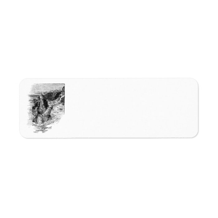 Vintage Pirates, Black and White Sketch, Tailpiece Label