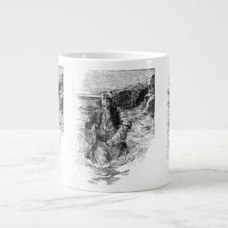 Vintage Pirates, Black and White Sketch, Tailpiece Large Coffee Mug