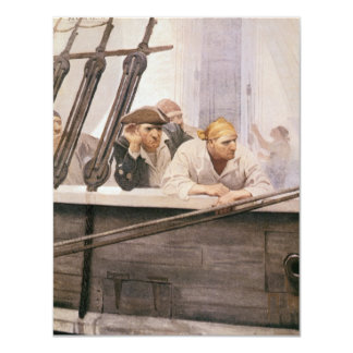 Vintage Pirates Brig Covenant in a Fog by NC Wyeth 4.25x5.5 Paper Invitation Card