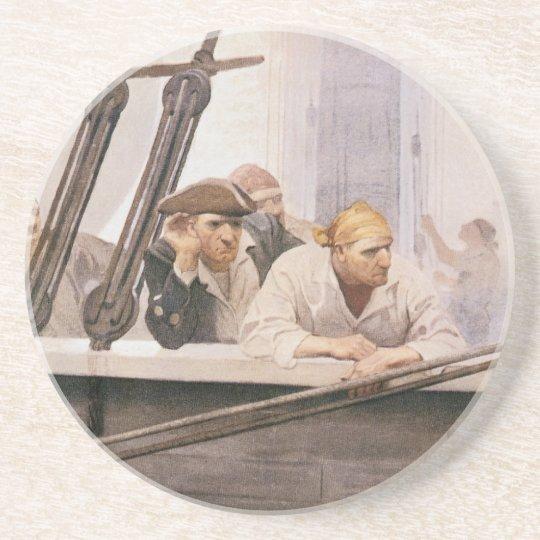 Vintage Pirates Brig Covenant in a Fog by NC Wyeth Drink Coaster