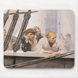 Vintage Pirates Brig Covenant in a Fog by NC Wyeth Mouse Pad