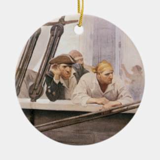 Vintage Pirates Brig Covenant in a Fog by NC Wyeth Double-Sided Ceramic Round Christmas Ornament