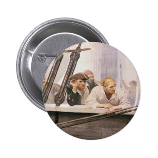 Vintage Pirates Brig Covenant in a Fog by NC Wyeth Pinback Button
