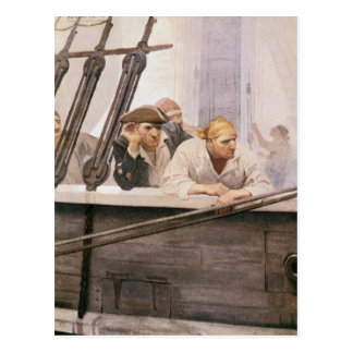 Vintage Pirates Brig Covenant in a Fog by NC Wyeth Postcard