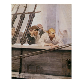 Vintage Pirates Brig Covenant in a Fog by NC Wyeth Poster
