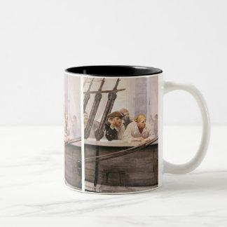 Vintage Pirates Brig Covenant in a Fog by NC Wyeth Two-Tone Coffee Mug