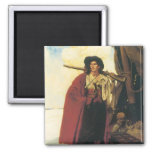 Vintage Pirates Buccaneer was a Picturesque Fellow 2 Inch Square Magnet