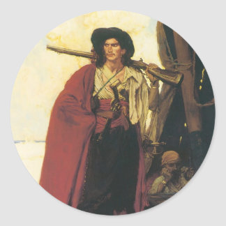 Vintage Pirates Buccaneer was a Picturesque Fellow Classic Round Sticker