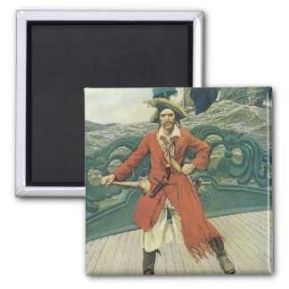 Vintage Pirates, Captain Keitt by Howard Pyle 2 Inch Square Magnet