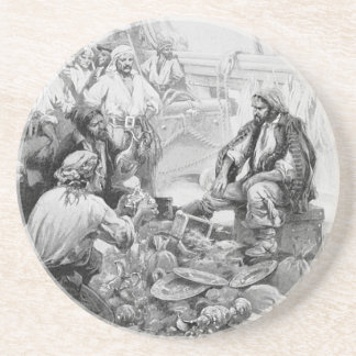 Vintage Pirates Counting Their Loot and Treasures Coasters