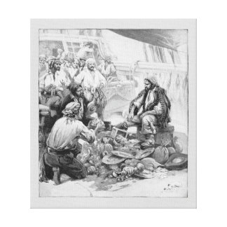 Vintage Pirates Counting their Treasures and Loot Canvas Print