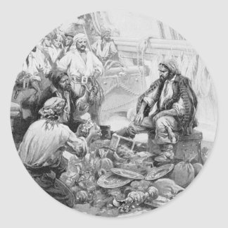 Vintage Pirates Counting their Treasures and Loot Classic Round Sticker