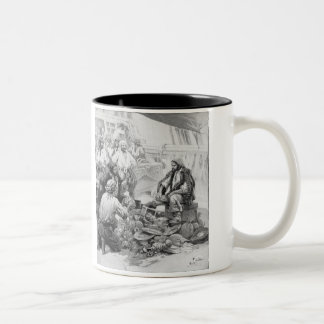 Vintage Pirates Counting their Treasures and Loot Two-Tone Coffee Mug