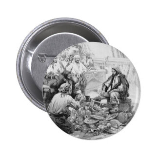 Vintage Pirates Counting Treasures and their Loot Pinback Buttons