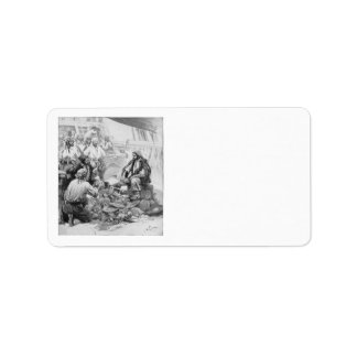 Vintage Pirates Counting Treasures and their Loot Custom Address Label
