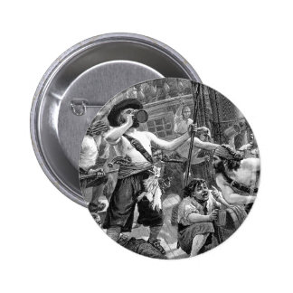 Vintage Pirates Drinking and Fighting on the Ship Pinback Button