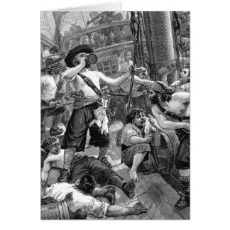 Vintage Pirates Drinking and Fighting on the Ship Card