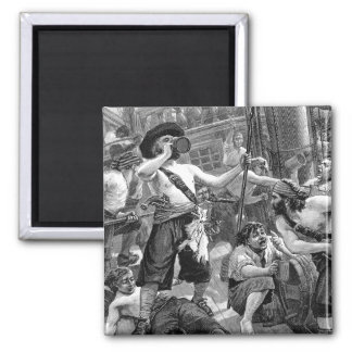 Vintage Pirates Drinking and Fighting on the Ship 2 Inch Square Magnet