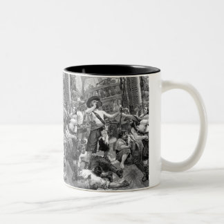 Vintage Pirates Drinking and Fighting on the Ship Coffee Mugs