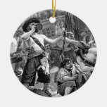 Vintage Pirates Drinking and Fighting on the Ship Double-Sided Ceramic Round Christmas Ornament