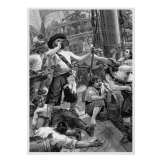 Vintage Pirates Drinking and Fighting on the Ship Poster