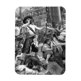 Vintage Pirates Drinking and Fighting on the Ship Vinyl Magnets