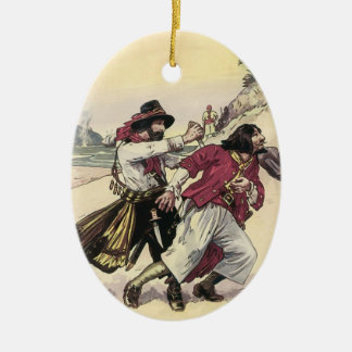 Vintage Pirates, Duel till the Death on the Beach Ceramic Ornament