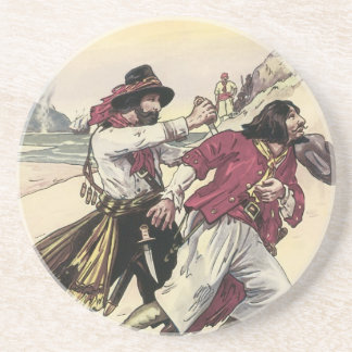 Vintage Pirates, Duel till the Death on the Beach Sandstone Coaster