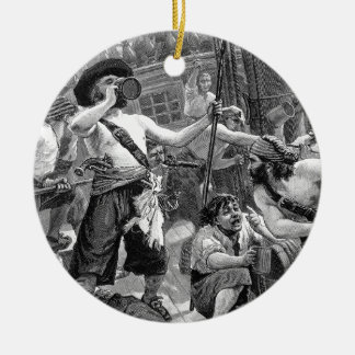 Vintage Pirates Fighting and Drinking on the Ship Ceramic Ornament