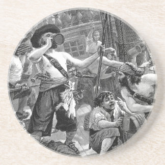 Vintage Pirates Fighting and Drinking on the Ship Sandstone Coaster
