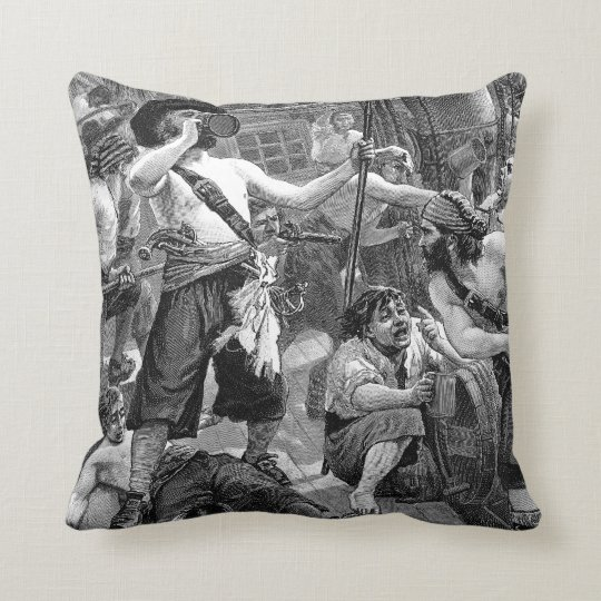 Vintage Pirates Fighting and Drinking on the Ship Throw Pillow