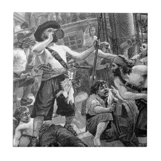 Vintage Pirates Fighting and Drinking on the Ship Tile