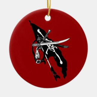 Vintage Pirates Flag, Jolly Roger Skull Crossbones Ceramic Ornament