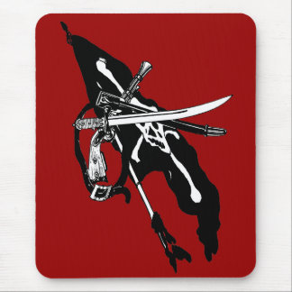 Vintage Pirates Flag, Jolly Roger Skull Crossbones Mouse Pad