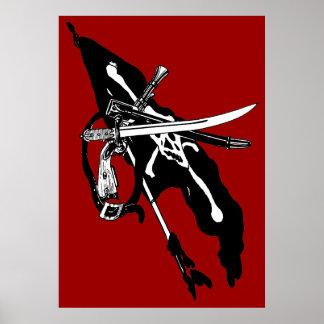 Vintage Pirates Flag, Jolly Roger Skull Crossbones Poster