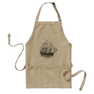 Vintage Pirates Galleon, Sketch of a 74 Gun Ship Adult Apron