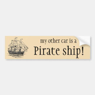 Vintage Pirates Galleon, Sketch of a 74 Gun Ship Bumper Sticker