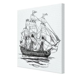 Vintage Pirates Galleon, Sketch of a 74 Gun Ship Canvas Print