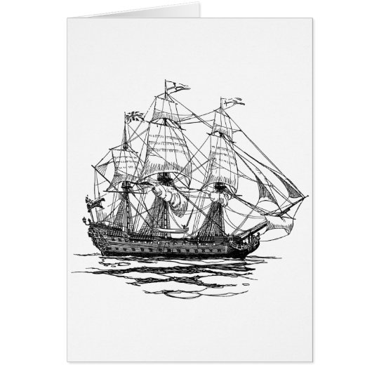 Vintage Pirates Galleon, Sketch of a 74 Gun Ship Card