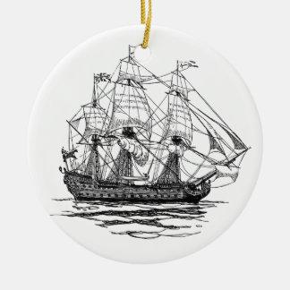 Vintage Pirates Galleon, Sketch of a 74 Gun Ship Ceramic Ornament