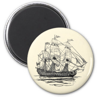 Vintage Pirates Galleon, Sketch of a 74 Gun Ship Magnet
