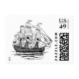 Vintage Pirates Galleon, Sketch of a 74 Gun Ship Postage