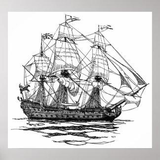 Vintage Pirates Galleon, Sketch of a 74 Gun Ship Poster