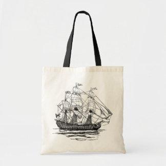 Vintage Pirates Galleon, Sketch of a 74 Gun Ship Tote Bag